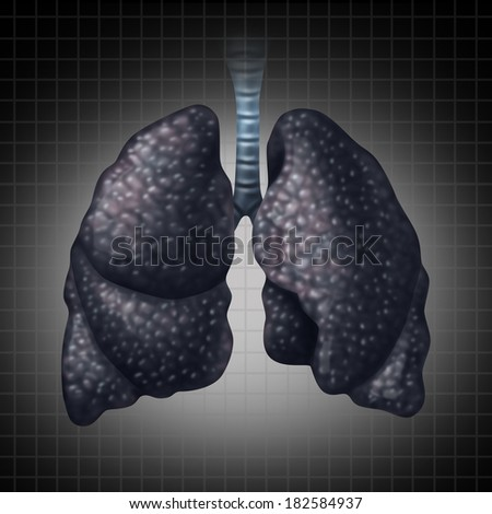 Human lung disease health care concept as a decline in respiratory function caused by cancer or disease as black lung as a damaged organ slowly losing function.  - stock photo
