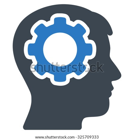 Human Mind glyph icon. Style is bicolor flat symbol, smooth blue colors, rounded angles, white background. - stock photo