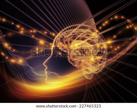 Human Mind series. Artistic background made of brain, human outlines and fractal elements for use with projects on technology, science, education and human mind - stock photo