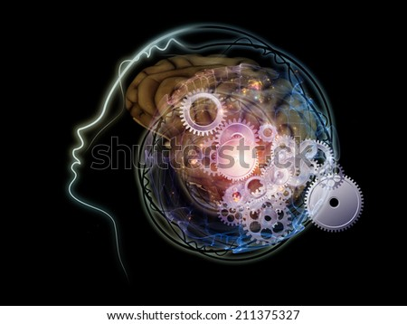 Human Mind series. Visually attractive backdrop made of brain, human outlines and fractal elements suitable as element for layouts on technology, science, education and human mind - stock photo