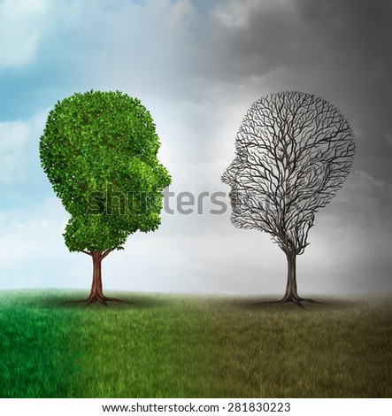 Human mood and emotion disorder concept as a tree shaped as two human faces with one full of leaves and the opposite side empty branches as a medical metaphor for psychological contrast in feelings. - stock photo