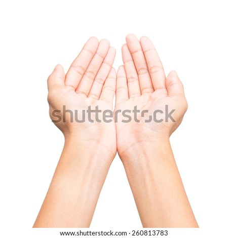 Human open empty hands on white background. - stock photo