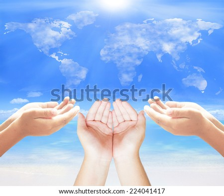 Human open many empty hands with palms up. Ask Pose Seek Beg Help Race God Well Relax Soul Pray Dua Hajj Give Child Girl Quran Aura Heal Life Gift Eid Poor Idea Islam Thank Room Candle Glow CSR Trust - stock photo