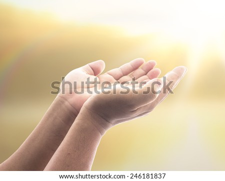 Human open two empty hands with palms up. Ask Seek Beg Help God Well Relax Soul Prayer Dua Hajj Give Child Girl Bless Quran Aura Heal Gift Eid dea Islam Thank Mercy Trust Glow Sea Ocean Rainbow Peace  - stock photo