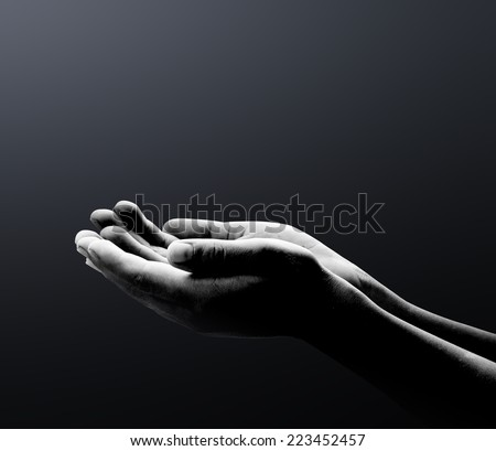 Human open two empty hands with palms up. Ask Seek Beg Help Race God Soul Pray Dua Hajj Give Bless Quran Aura Heal Life Gift Eid Poor Idea Islam Thank Room Candle Glow National Africa Prayer Hungry - stock photo
