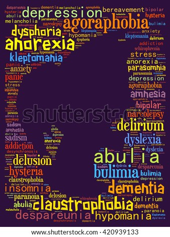 Human psychological disabilities: text collage - stock photo