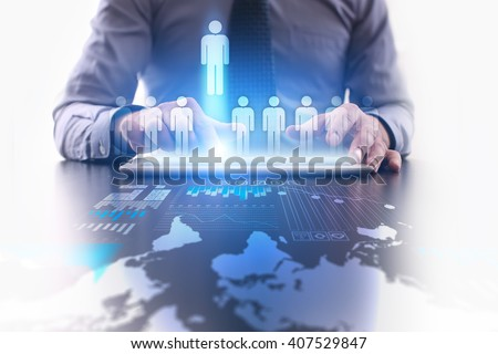 Human reesources management and recruitment. Businessman using modern tablet computer. - stock photo
