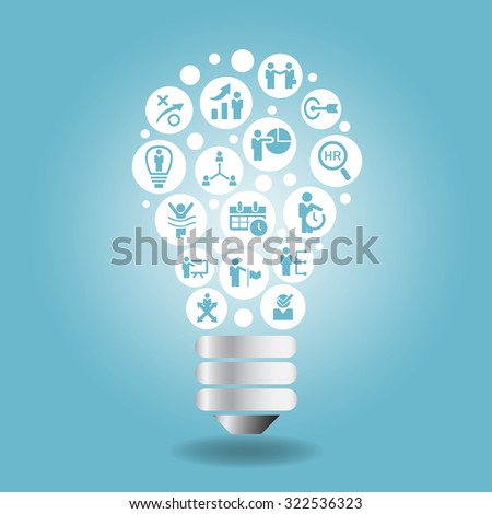 Human resource and idea concept - business icon with light bulb with blue background - stock photo