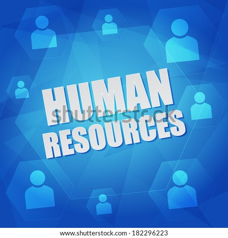 human resource and person signs - business concept words and symbols in hexagons over blue background, flat design - stock photo