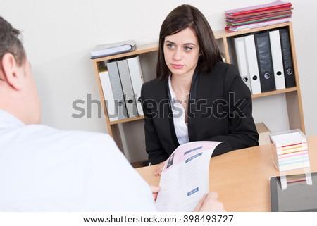 Human resource concept: Job interview - stock photo