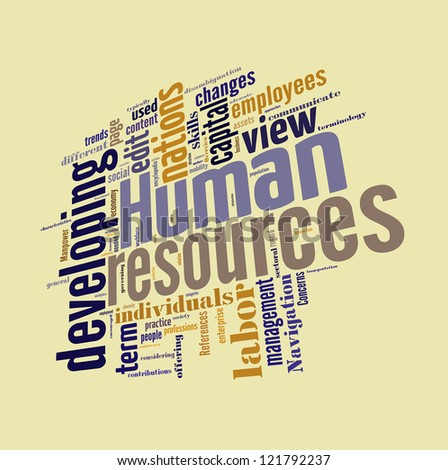Human Resource word cloud  isolated in white background - stock photo