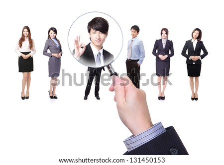 Human resources concept choosing the perfect candidate for the job model, asian people - stock photo