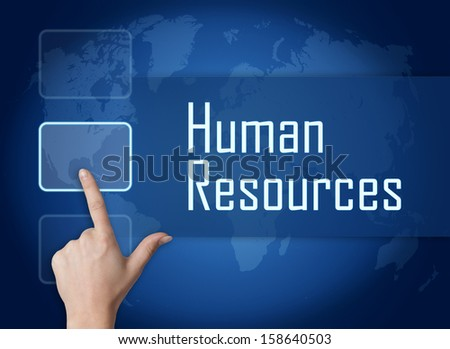 Human Resources concept with interface and world map on blue background - stock photo