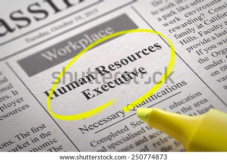 Human Resources Executive Vacancy in Newspaper. Job Search Concept. - stock photo