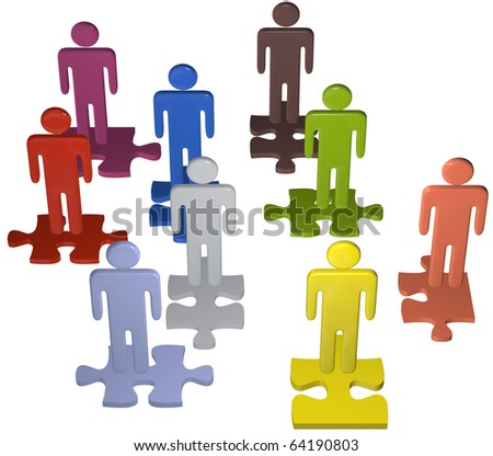 Human resources issues and other people concepts as 3D stick figure symbols on jigsaw puzzle pieces. - stock photo