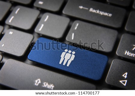 Human resources key with network team icon on laptop keyboard. Included clipping path, so you can easily edit it. - stock photo