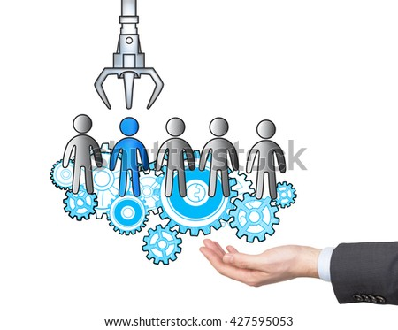 Human resources management and choice concept with businessman hand holding abstract sketch on white background - stock photo