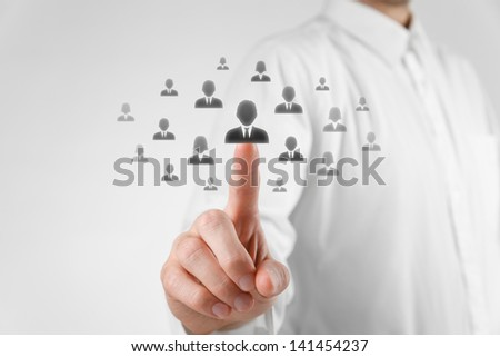 Human resources officer choose employee (successor) standing out of the crowd. Select team leader or assessment center concept. Gender discrimination in employees selection. - stock photo