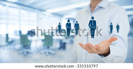 Human resources pool, customer care, care for employees, labor union, employment agency and marketing segmentation concepts. Wide banner composition with office in background. - stock photo