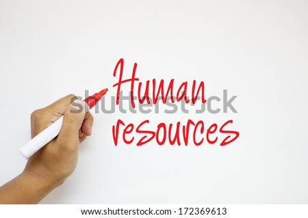 Human Resources sign on whiteboard - stock photo