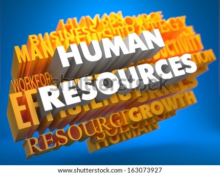 Human Resources - Words in White Color on Cloud of Yellow Words on Blue Background. Wordcloud Concept. - stock photo