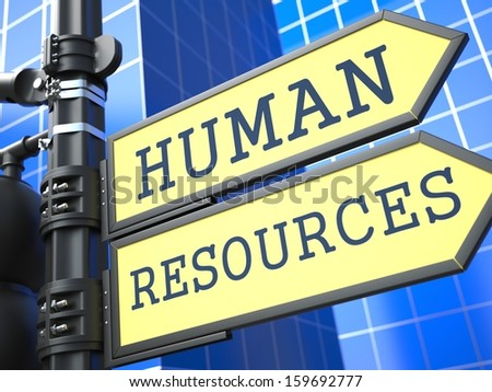 Human Resources Words on Yellow Roadsign on Blue Urban Background. Business Concept. 3D Render. - stock photo