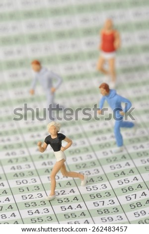 Human running toward the goal - stock photo