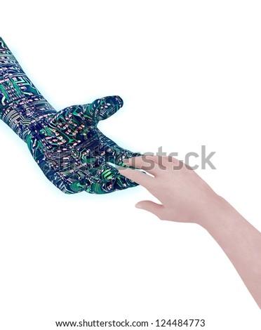 Human's hand touching robot's hand - stock photo