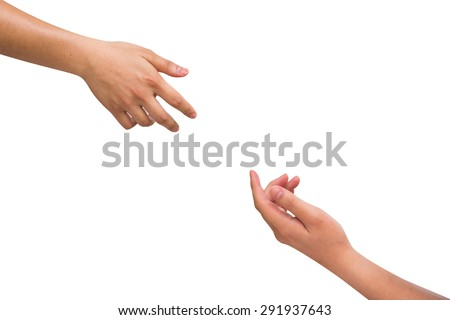 Human's hands help together isolated on white backgrounds.helping hand concept,black and white hands concept. - stock photo