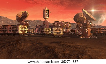Human settlement on a Mars like red planet with spherical pods, crate containers and satellite dishes for planetary exploration backgrounds. Elements of this image furnished by NASA.  - stock photo