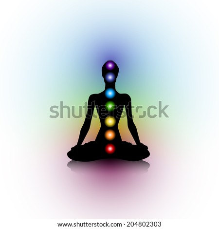 Human silhouette with chakras - stock photo