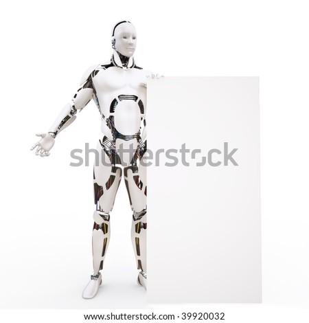 Human similar robot with a white board - stock photo