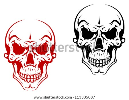 Human skull for horror or halloween design. Vector version also available in gallery - stock photo
