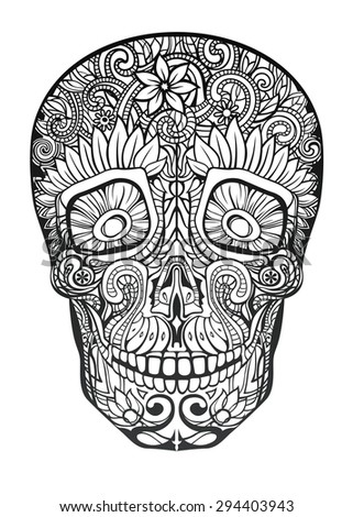 human skull made of flowers, Raster Copy - stock photo