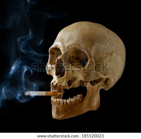 Human skull smoking a cigarette on a black background. - stock photo