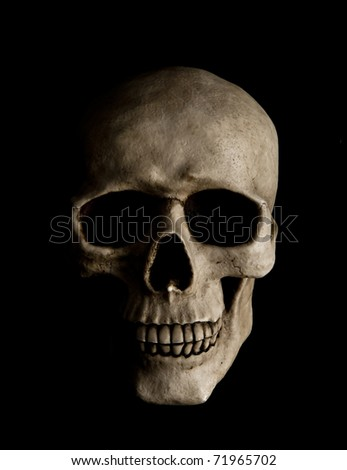 Human skull with dramatic lightning is isolated on a black background - stock photo