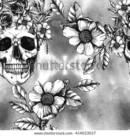 Human skull with flower wreath and roses. Los muertos. Raster seamless pattern in trendy style. Fashion illustration. - stock photo