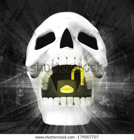 human skull with in jaws on grunge background illustration - stock photo