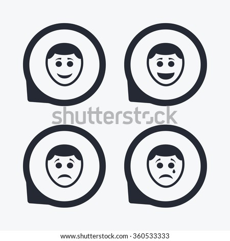 Human smile face icons. Happy, sad, cry signs. Happy smiley chat symbol. Sadness depression and crying signs. Flat icon pointers. - stock photo