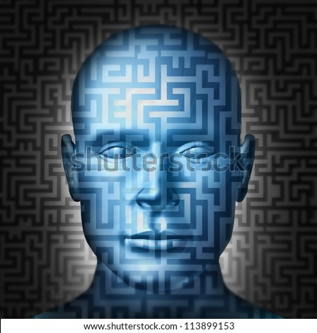 Human solution searching for a clear direction and answers to complex confusing financial or health problems in a front view head as a maze or labyrinth puzzle and challenge to intelligent choices. - stock photo