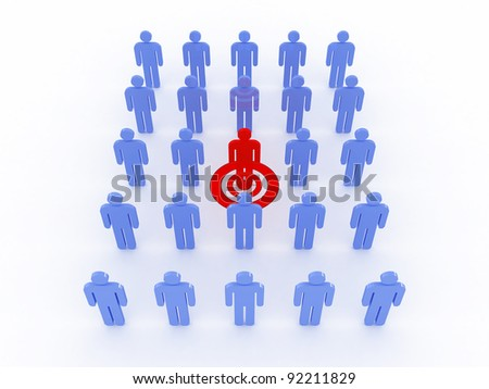 Human target isolated on white background. 3D image - stock photo