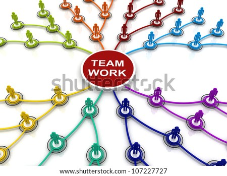 Human teamwork organization connection chart bubble diagram 3d render - stock photo