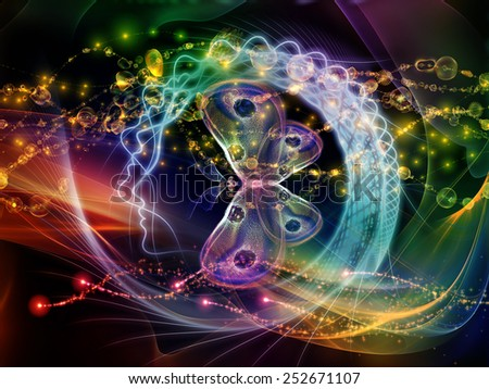 Human Vector series. Abstract design made of human lines and abstract graphic elements on the subject of mind, human spirit, poetry, inspiration and philosophy - stock photo