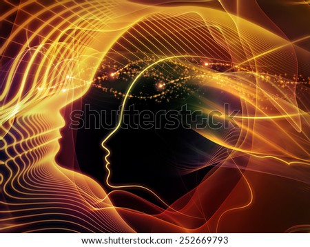 Human Vector series. Artistic background made of human lines and abstract graphic elements for use with projects on mind, human spirit, poetry, inspiration and philosophy - stock photo