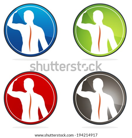 Human vertebral column health sign collection, colorful designs. - stock photo