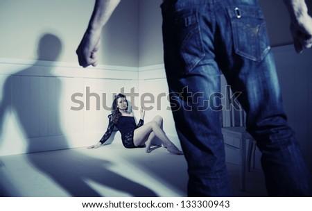 Human violence - stock photo