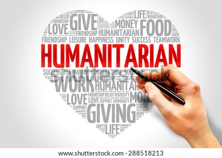Humanitarian word cloud, heart concept - stock photo