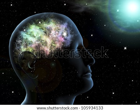 Humanoid with his knowledge of universe on space background - stock photo