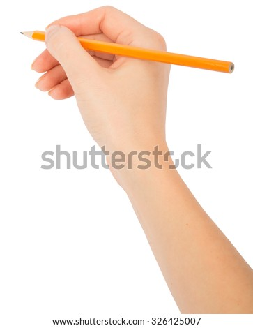 Humans hand holding pencil on isolated white background, top view - stock photo