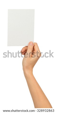 Humans right hand holding small blank paper on isolated white background - stock photo